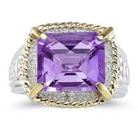Emerald Cut Amethyst and Diamond Ring in 14K Yellow Gold and Silver
