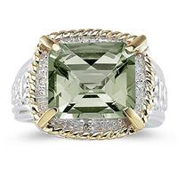 Emerald Cut Green Amethyst and Diamond Ring in 14K Yellow Gold and Silver