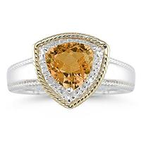Trillion Cut Citrine and Diamond Ring in 14K Yellow Gold and Silver