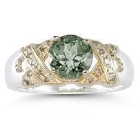 1.3ct Green Amethyst And Diamond Ring in 14K Yellow Gold And Silver