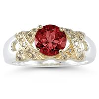 1.3ct Garnet And Diamond Ring in 14K Yellow Gold And Silver