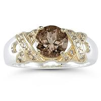 1.3ct Smokey Quartz And Diamond Ring in 14K Yellow Gold And Silver