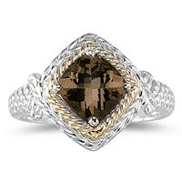 1.5ct Smokey Quartz Ring in 14K Yellow Gold And Silver