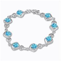 5.00 Carat Cushion Cut Blue Topaz and Diamond Bracelet in .925 Sterling Silver