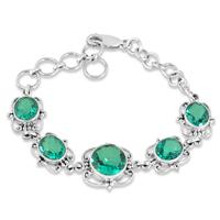 Antique Green Quartz Bracelet in .925 Sterling Silver
