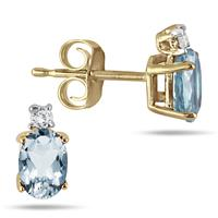 Oval Aquamarine Drop and Diamond Earrings in 14K Yellow Gold