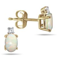 Oval Opal Drop and Diamond Earrings in 14K Yellow Gold