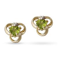 Peridot and Diamond Earrings in 14K Yellow Gold