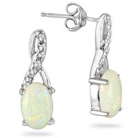 Oval Opal and Diamond Earrings in .925 Sterling Silver