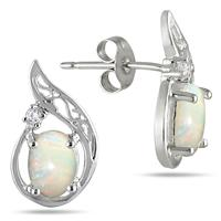 1.00 Carat Oval Opal and Diamond Earrings in .925 Sterling Silver