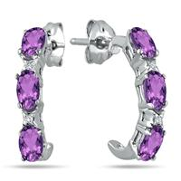 3/4 Carat Amethyst and White Topaz Hoop Earrings in .925 Sterling Silver