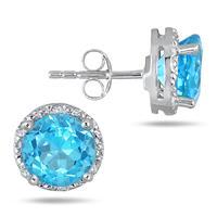 5 Carat Swiss Blue Topaz and Diamond Earrings in .925 Sterling Silver