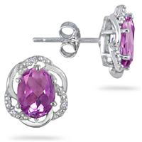 2.25 Carat Oval Amethyst And Diamond Earrings in .925 Sterling Silver
