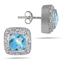 3.50 Carat Cushion Cut Blue Topaz and Diamond Earrings in .925 Sterling Silver