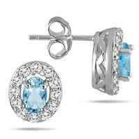 1 1/3 Carat Blue and White Topaz Earrings in .925 Sterling Silver