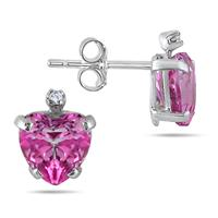 6MM Pink Topaz Heart and Diamond Earrings in .925 Sterling Silver