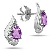1.60 Carat Amethyst and Diamond Flame Earrings in .925 Sterling Silver