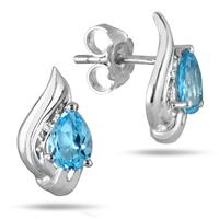 1.60 Carat Blue Topaz and Diamond Flame Earrings in .925 Sterling Silver
