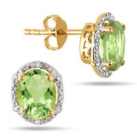 2.50 Carat Natural Peridot and Diamond 18K Yellow Gold Plated Earrings in .925 Sterling Silver