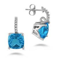 5.00 Carat Cushion Shape Blue Topaz and White Sapphire Earrings in .925 Sterling Silver