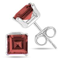 5MM All Natural Princess Garnet Stud Earrings in .925 Sterling Silver