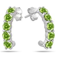 2.25 Carat Peridot Hoop Earrings in .925 Sterling Silver