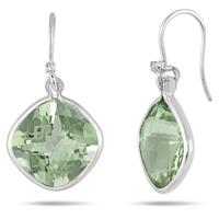 15.50 Carat Green Amethyst and Diamond Cushion Drop Earring in .925 Sterling Silver