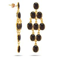 27 Carat Natural Smokey Quartz Drop Earrings in 18K Yellow Gold Plated Sterling Silver