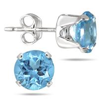 6MM Round All-Natural Genuine Blue Topaz Earrings in .925 Sterling Silver