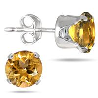6MM Round All-Natural Genuine Citrine Earrings in .925 Sterling Silver