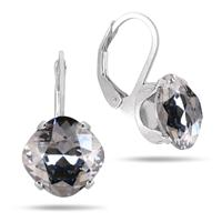 10 MM Cushion Cut Genuine SWAROVSKI Element Crystal Lever Back Earrings in .925 Sterling Silver