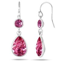 Genuine Swarovski Element Pink Crystal Drop Earrings in .925 Sterling Silver