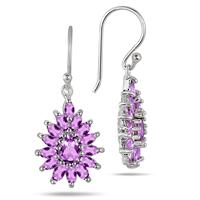 3.00 Carat Amethyst Hook Earrings in .925 Sterling Silver