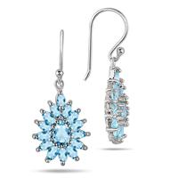 3.00 Carat Blue Topaz Hook Earrings in .925 Sterling Silver