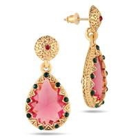 Pink and Green Crystal Earrings in 18K Gold Plated Brass