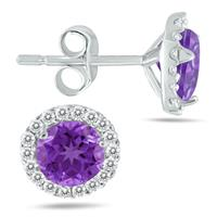 5MM Amethyst and Diamond Stud Earrings in 14K White Gold