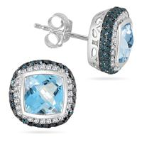 8MM Cushion Cut Blue Topaz and Diamond Halo Earrings in .925 Sterling Silver