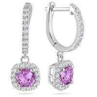 1.00 Carat Amethyst and Diamond Halo Dangle Earrings in 10K White Gold