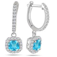 1.00 Carat Blue Topaz and Diamond Halo Dangle Earrings in 10K White Gold
