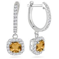 1.00 Carat Citrine and Diamond Halo Dangle Earrings in 10K White Gold