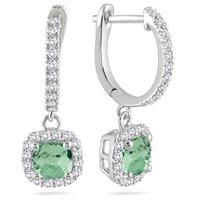 1.00 Carat Green Amethyst and Diamond Halo Dangle Earrings in 10K White Gold