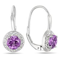 1.40 Carat Amethyst and Diamond Lever Back Earrings in .925 Sterling Silver