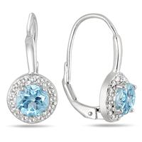 1.40 Carat Blue Topaz and Dimond Lever Back Earrings in .925 Sterling Silver