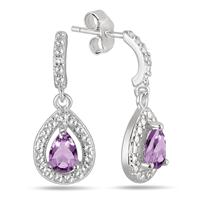 Pear Shape Amethyst and Diamond Drop Earrings in .925 Sterling Silver