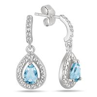 Pear Shape Blue Topaz and Diamond Drop Earrings in .925 Sterling Silver