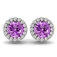 1 Carat Amethyst and Diamond Halo Earrings in 14K White Gold