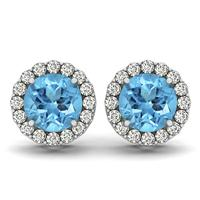 1 Carat Blue Topaz and Diamond Halo Earrings in 14K White Gold