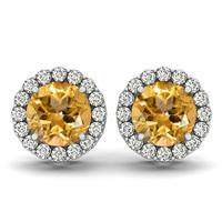 1 Carat Citrine and Diamond Halo Earrings in 14K White Gold