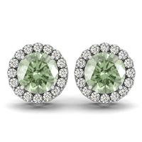 1 Carat Green Amethyst and Diamond Halo Earrings in 14K White Gold