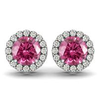 1 Carat Green Pink Topaz and Diamond Halo Earrings in 14K White Gold